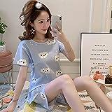 Handaxian Bequeme süße Baumwoll-Pyjamas für Damen Set Mädchen-Druck-Pyjamas Set Kurzarm-Pyjamas Nachthemd für Damen Set 3 XL