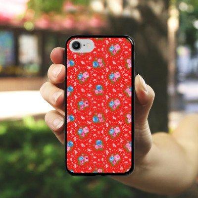 Apple iPhone X Silikon Hülle Case Schutzhülle Blumen Oldschool Muster Hard Case schwarz