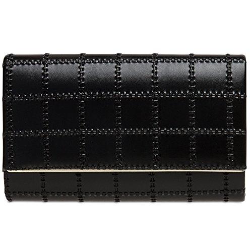 CASPAR TA382 Damen stylische metallic Envelope Clutch Tasche / Abendtasche mit langer Kette Schwarz