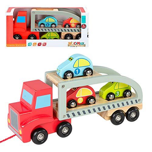 WOOMAX- Camión Remolque 3 Coches Madera ColorBaby
