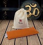 Almohadilla Relajante para Ojos (22 x 8,5cm) Naranja AZAFRÁN - con saquito Tela para guardarlo - Ideal para la práctica de savasan en Yoga, Relleno de Semillas de mijo y Flor de Lavanda.