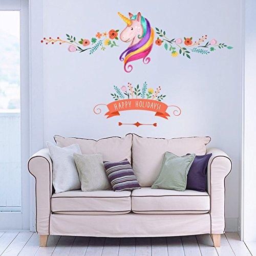 Stickerkoenig Wandtattoo Einhorn Einhörner Bordüre Wandaufkleber Wand Sticker DIY Kinderzimmer Deko
