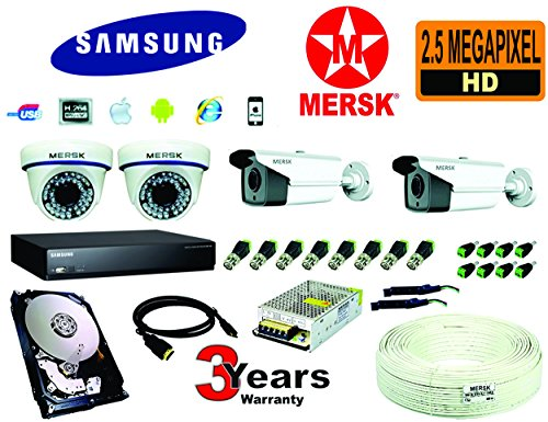 SAMSUNG 4 CH AHD DVR + 2MERSK HD 2.5 MEGA PIXEL DOME CAMERA + 2MERSK HD 2.5 MEGA PIXEL BULLET CAMERA + 1 TB HARD DISK + POWER SUPPLY + 3+1 COPPER WIRE (90 Mtrs) + FREE HDMI + AUDIO MICROPHONE _ AL REQUIRED CONNECTORS  available at amazon for Rs.21000