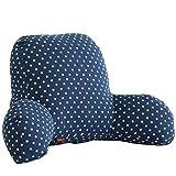 Foxom Espalda Apoyo cojín Cama Lectura Almohada de algodón sofá Cama Silla de Oficina Resto cojín 63* 40* 26cm, algodón, Lino, Dark Blue Dots, 63 * 40 * 26cm