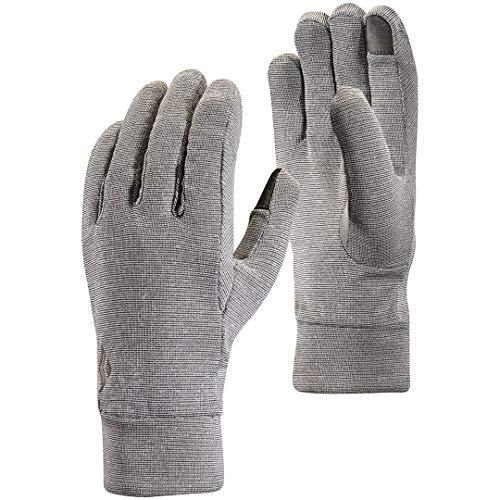 Black Diamond Lightweight Wooltech Handschuhe für sportliche Aktivitäten / Leichter Innenhandschuh aus Fleece & Wolle mit digitalen Fingern / Unisex, Slate, Größe: L -