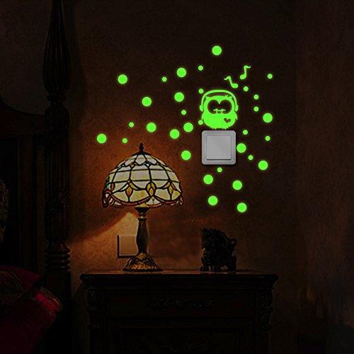 JiaMeng Pegatina de Pared, Etiqueta engomada Luminosa del Interruptor Lindo de la Historieta Etiqueta engomada desprendible de la Etiqueta engomada Fluorescente de la Pared (G, tamaño Libre)