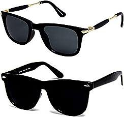 Y&S Wayfarer Boy's Girl's Men's & Women's Sunglasses Combo(Black-Wayfarer-Combo-Smpl+Gldnstk| 55| Black)
