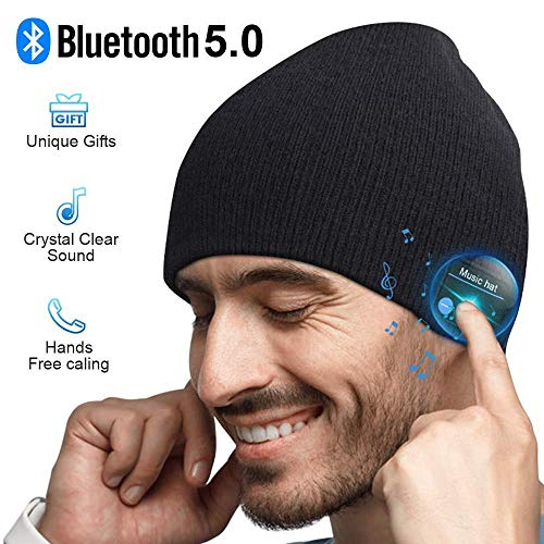 Cappello Bluetooth Idee Regalo Uomo - Cappello Uomo Donna Invernali, Berretto Bluetooth 5.0 Musica Cappello Migliori Regali Natale, Cappello Sportivo da Esterno Campeggio Sci, Ultra Morbidi Lavab