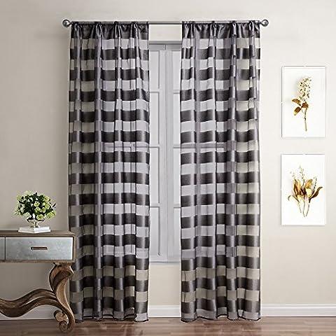 luce della finestra Camera familiare blocking isolamento tende decorative in bianco e nero di lino a quadri finito , c21145 , 52x63inch (132x160cm)