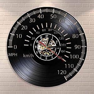 Thusjh Vinyl-Wanduhr Cafe Racer Drehzahlmesser Wandkunst Tachometer Motorrad Rennrad Tacho Drehzahlmesser