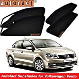 #3: Autofact Magnetic Window Sunshades/Curtains for Volkswagen Vento [Set of 4pc - Front 2pc with Zipper ; Rear 2pc Without Zipper] (Black)