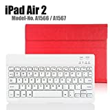 Apple iPad Air 2 Deutsche Bluetooth Tastatur,CoastaCloud Ultra-Thin QWERTZ Deutsche Bluetooth Tastatur Keyboard Case für Apple ipad Air 2 (A1566 A1567 )Rot