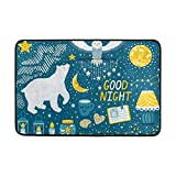 vintage cap Funny Doormats Welcome Mats Entrance Mat Floor Mat Door Mat,White Owl And Polar Bear at Snowy Night, 31.5 x 19.5 inch
