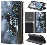 CoverHeld Hülle für Samsung Galaxy S4 Mini Premium Flipcover Schutzhülle aus Kunstleder Flip Case Motiv (1058 Motorrad Schwarz Blau Silber)