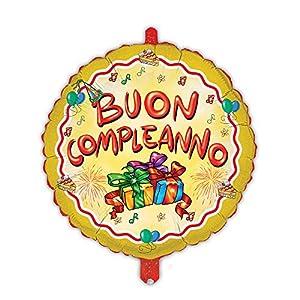 Magic Party mem07-Globo Mylar Buon Compleanno diámetro 45cm