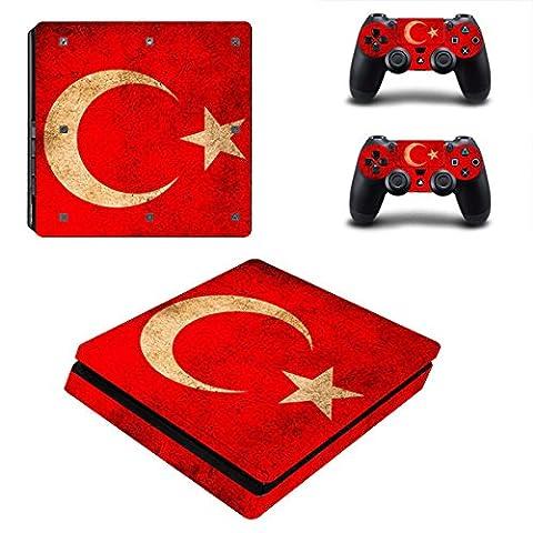 Morbuy PS4 Slim Skin Design Folie Aufkleber Sticker schützende Haut Schale für Sony Playstation 4 Slim Konsole und 2 Dualshock Controller (Flagge Türkei)