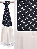Black and White Pochampally Ikat Cotton Handloom Dupatta