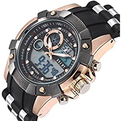 OOFAY® Herren Multifunktionale Military Alarm Zeit Keeper LCD Analog-Digital Sport Armbanduhr