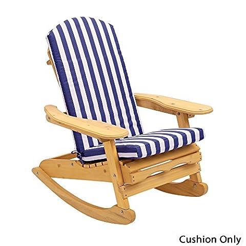 Coussin pour fauteuil d'extérieur 'Adirondack' en bleu rayé blanc (Coussin Seulement)