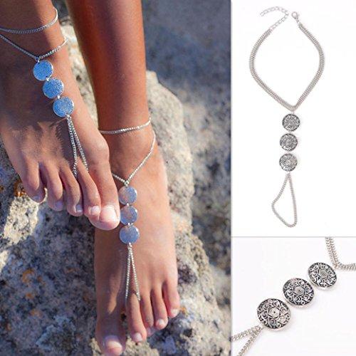 DAY.LIN Schmuck Damen Fußkettchen Frauen Silber Kette Fußkettchen Knöchel Armband Barfuß Sandale Strand Fuß Schmuck