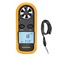 OTraki Anemometer Handheld LCD Wind Speed Monitor Digital Temperature Meter Thermometer GM816 Portable Measurer Instrument for Home Air Conditioner Outdoor Industrial Sea Ocean Sports