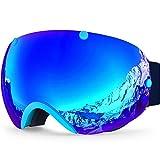 ZIONOR Lagopus XA Profesional de Motos de Nieve Snowboard Skate Gafas de esquí y Gran Angular Anti-niebla Gran Esférico Unisex Adulto Multicolor Gafas de esquí (Azul)