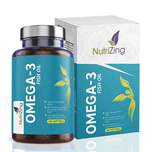 Omega 3 Kapseln 2000mg - Fischöl 660 EPA 440 DHA pro Portion - 180 Weiche Gele - Hochdosiert von NutriZing - Fischölkapseln aus Nachhaltigem Fischfang, ohne Unerwünschte Zusätze