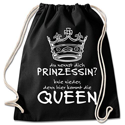 Shirt & Stuff / Turnbeutel mit Spruch/Bedruckte Sportbeutel - Sprüche auswählbar/Baumwolle schwarz/Hier kommt die Queen
