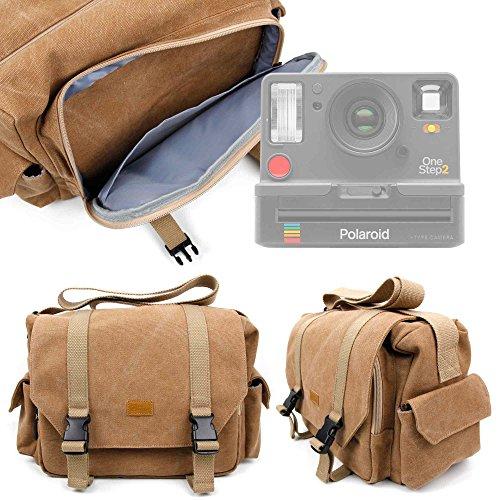 Duragadget borsa professionale canvas per fotocamera polaroid onestep 2   kodak printomatic - con tracolla regolabile e numerosi scomparti
