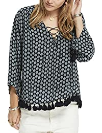 Scotch & Soda Maison Viscose Printed Boho Top with Tassel Hem and Lace Up Front, Hauts Femme