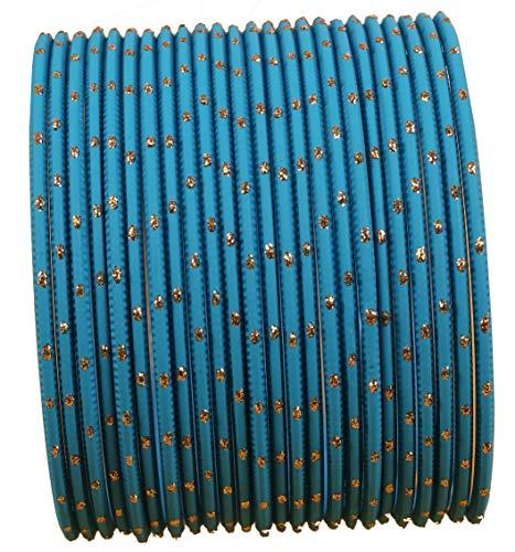 Touchstone Bunten Armreif Sammlung indischen Bollywood exklusive Glasur Designer Schmuck spezielle Armreifen Armbänder für Damen 2.75 Set 2 Tiffany-Blau