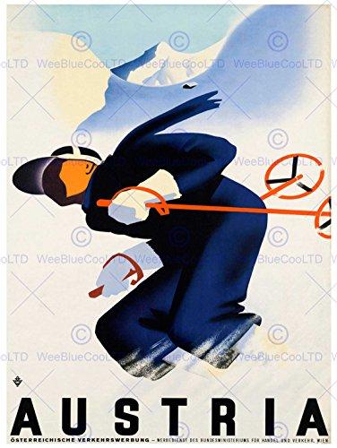 SPORT ADVERT WINTER SKI SNOW DOWNHILL SLALOM ART PRINT POSTERBB7421B