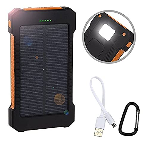Lugii Cube solaire Power Bank Chargeur solaire double USB Power Bank avec lumière LED pour étanche 8000mAh