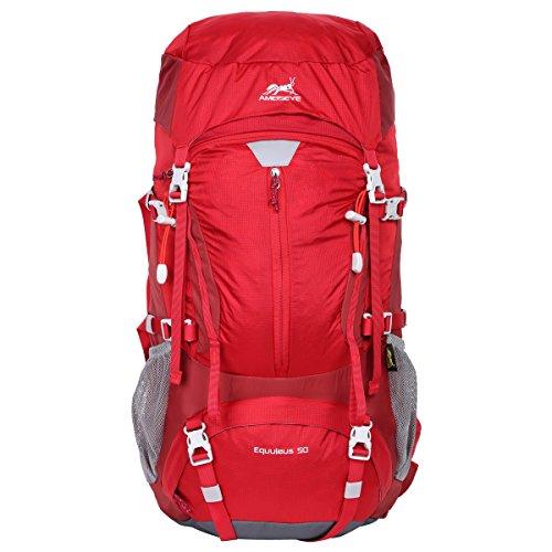 Imagen de eshow 50l  de acampada multifuncional  de senderismo de nailon impermeable  de montaña para viajes de unisex color rojo