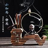 KEQB Teezeremonie, Sechs Herren, Kung Fu Tee-Set, Ersatzteile, Teeservice, Set aus Ebenholz, Bambus und Tee-Clip, Meditation