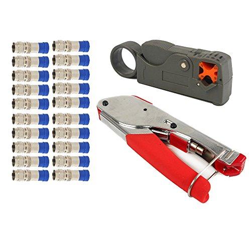 nuzamas F-Kompression-Crimper Stripper Set Hand Werkzeug Rotary Koaxialkabel Crimpen Abisolieren Schneiden Zange RG59RG6zudrücken Cutter mit 20Anschlüsse Rg59-snap