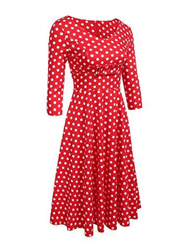 Zeela Damen Herbst Retro Vintage 50er Kleid mit Punkten 3/4 Ärmel Swing Rockabilly Abendkleid Partykleid Cocktailkleid Petticoat Rot