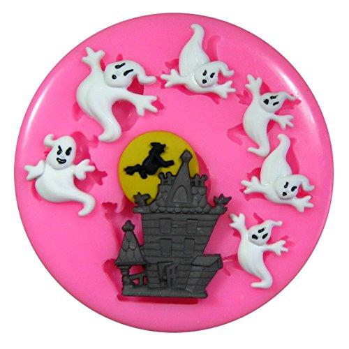 Casa encantada y fantasma Halloween Molde de silicona para la torta de Decoración Pastel de Cupcake Toppers Glaseado Sugarcraft Tool por Fairie Blessings