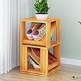 YQ WHJB Mehrschichtige schuhregal Holz,Platz Sparen Schuh Turm,Kreativ Drehen Home Regal Platz für 4 Paar Schuhe-A