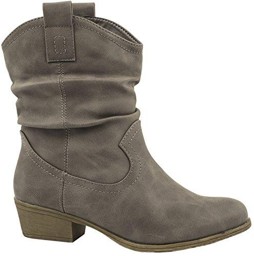 Elara Damen Schlupf Stiefel | Reiter Stiefeletten | Biker Boots Kult | Gefüttert (38, Grau Fell)
