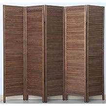 PEGANE Biombo persiana de Madera de 5 Paneles, Color marrón - Dim : A 170