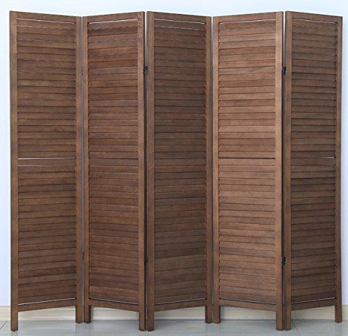 PEGANE Biombo persiana de Madera de 5 Paneles