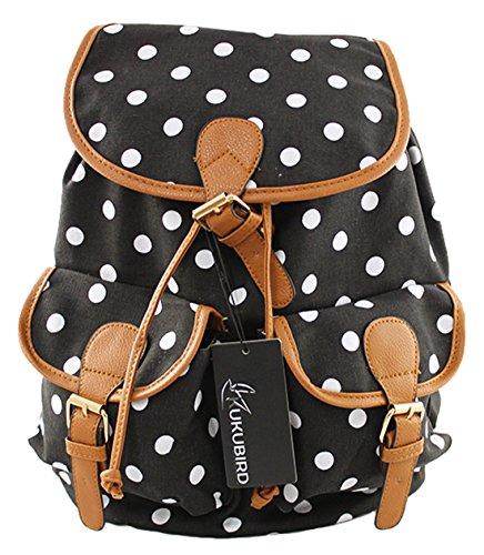 Kukubird POLKA DOT Backpack SPOTTY Rucksack School Bag DOUBLE POCKET (BLACK)