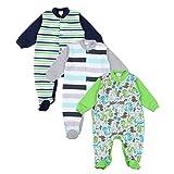 TupTam Unisex Baby Schlafstrampler Baumwolle 3er Pack, Farbe: Junge 3, Größe: 92