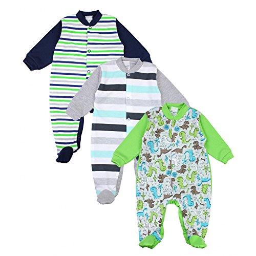 TupTam Unisex Baby Schlafstrampler Baumwolle 3er Pack, Farbe: Junge 3, Größe: 86