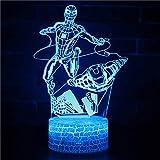 SJSF L Nouveau 3D LED pour Marvel Volant pour Spiderman pour Iron Man Cool Light Nuit Table De Bureau Lampe 7 Changement De Couleur Lampe De Poche USB Enfants Cadeau De Noël,3colortouch