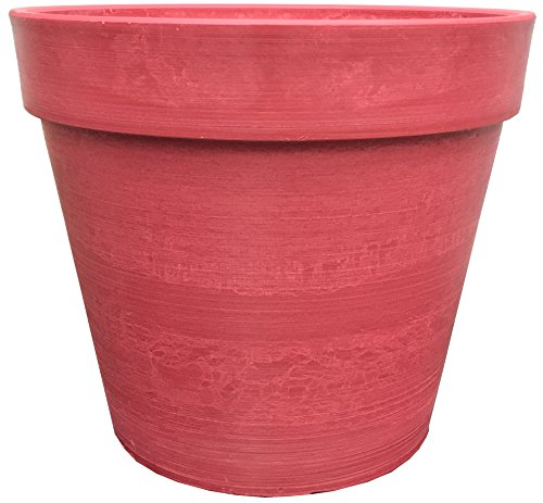 Spigo Contemporary UV-Protective Resin Pots, 14 Inches (Red) -