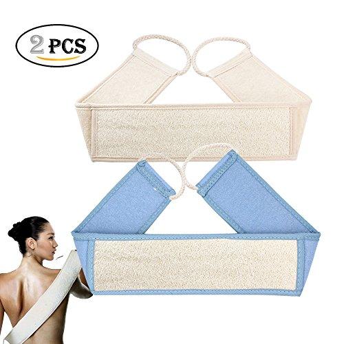 Peeling Luffa Zurück Scrubber, natürliche Luffa Dusche Gurt für Damen und Herren, Bad Körper Bürste, entfernen abgestorbene Haut, Massage (2Pack)