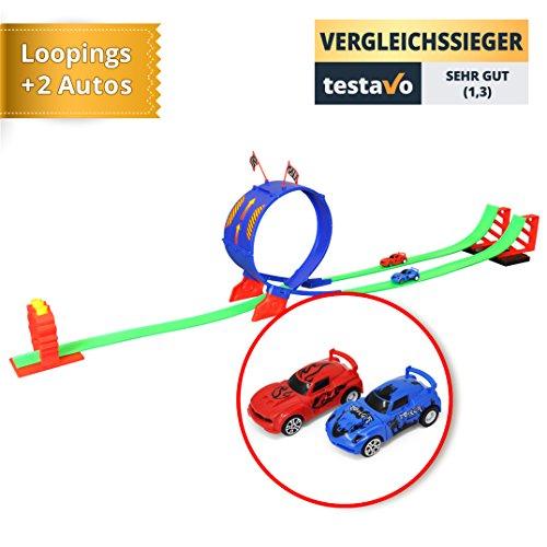 YourMate Kinderspielzeug Rennbahn mit Looping, Autos, Aufklebern | Rennstrecke ab 3 Jahren für viel Spiele-Spaß Kinder – Jungs und Mädchen | Racing-Set für die ganze Familie