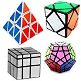 Mayatra's Combo Of - Shengshou 3x3 Silver Mirror Cube, Shengshou Megaminx Black/White Speed Cube (Color May Vary), Pyraminx Triangle Pyramid Magic Cube Puzzle, Ultra Smooth Magic Skewb Cube   (4 Pieces)